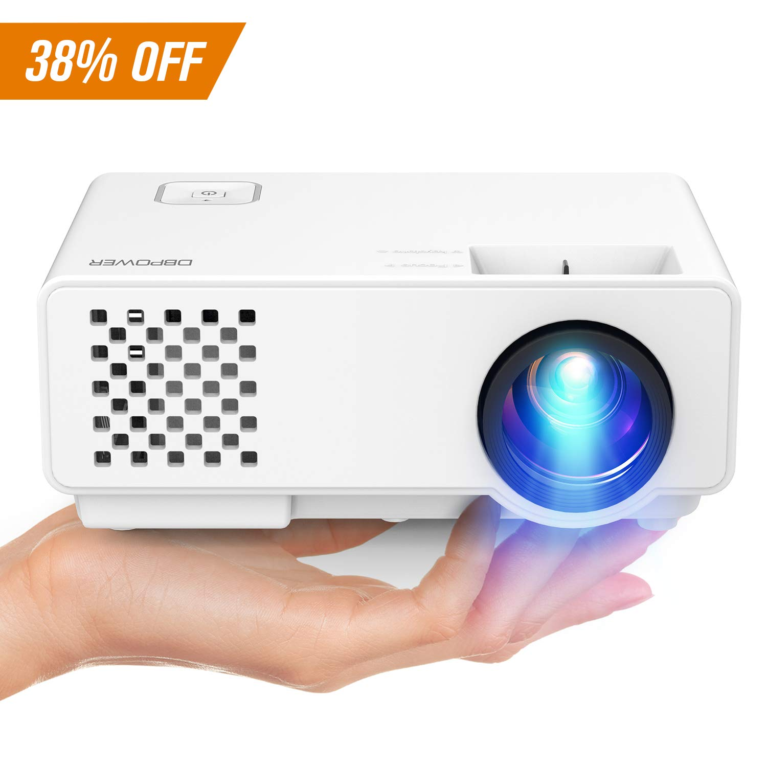 Projector, 2018 Upgraded DBPOWER RD-810X Mini Video Projector, Multimedia Home Theater Video Projector Supporting 1080P, HDMI, USB, VGA, AV for Home Cinema, TVs, Laptops, Games, Smartphones