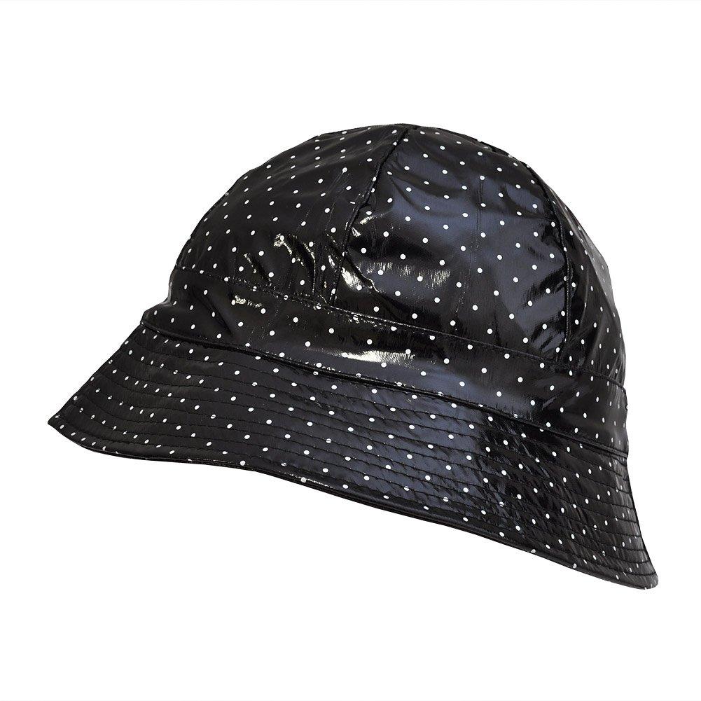TOUTACOO, Waterproof Vinyl Bucket Rain Hat .Polka Dot - Black by TOUTACOO