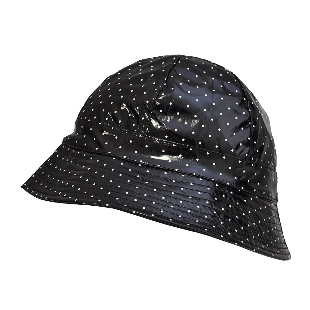 TOUTACOO Waterproof Vinyl Bucket Rain Hat .Polka Dot - Black