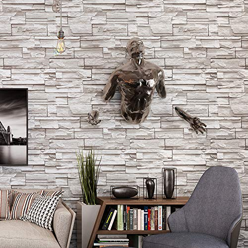 Blooming Wall: 20.8 In32.8 Ft=57 Sq Ft, Wallpaper Yellow Faux Rustic Tuscan Brick Wall Paper Vinyl Roll,Looks Real up!Brown (Beige)