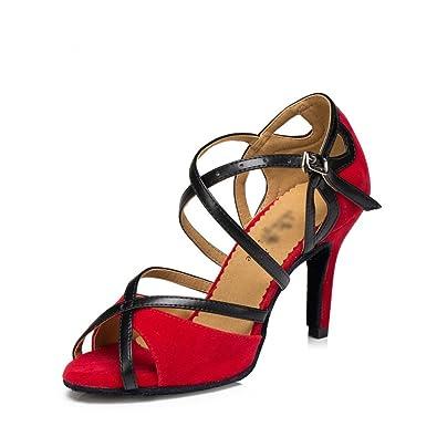 WYMNAME Womens Chaussures de Danse Moderne,[Fond Mou] Chaussures Latines Chaussures de Danse de Salon-Noir Longueur du Pied=24.3CM(9.6Inch)