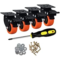 ASRINIEY Casters, 2″ Caster Wheels, Orange Polyurethane Castors, Top Plate Swivel Wheels, Casters Set of 4, Locking Casters for Furniture and Workbench, Heavy Duty Casters, 4 Pack Casters with Brake