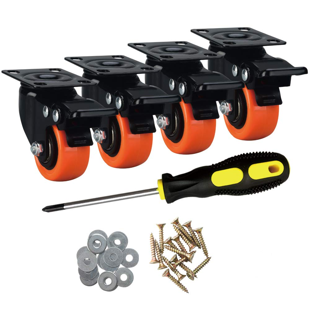 """ASRINIEY Casters, 2"""" Caster Wheels, Orange Polyurethane Castors, Top Plate Swivel Wheels, Casters Set of 4, Locking Casters for Furniture and Workbench, Heavy Duty Casters, 4 Pack Casters with Brake"""