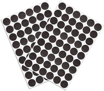 54 en 1 Pegatinas autoadhesivas para agujeros de tornillos Sourcingmap 1 3 tapas de tornillos autoadhesivas a prueba de polvo color negro nogal 21 mm
