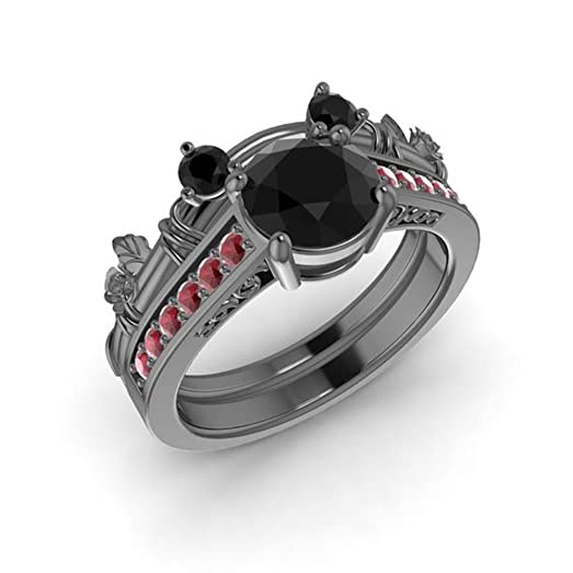 dream jewels womens 150 carat black diamond red ruby 14k black gold plated 925 silver - Mickey Mouse Wedding Ring