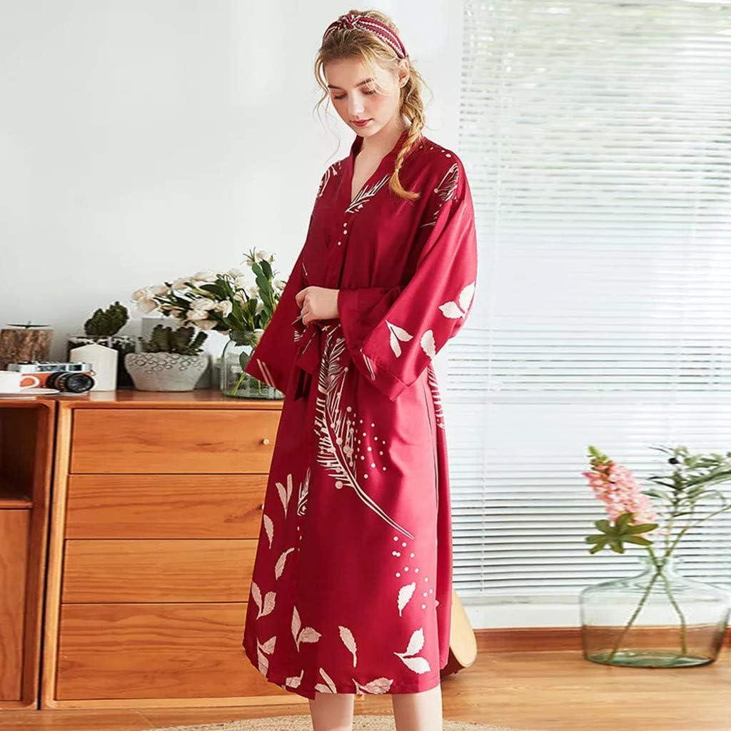 Trada Vestaglia Kimono Donna Elegante Pigiama Vestaglia Raso Corta Camicie da Notte per Donna Accappatoio Biancheria da Notte Abito da Notte Indumenti da Notte