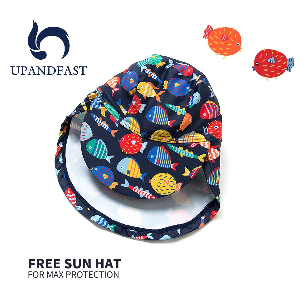 upandfast Baby Girls Swimwear Sunsuits One Piece Swimsuits with Sun Hat UPF 50 Sun Protection Toddler Bathing Suits