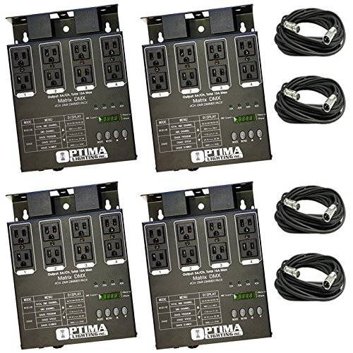 4 x MATRIX DMX 4Ch. Double Output Dimmer Pack System with 4x XLR DMX Cables by Optima Lighting