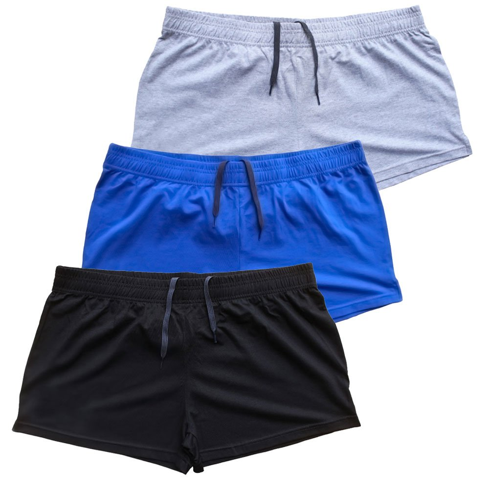 MUSCLE ALIVE Mens Bodybuilding Shorts 3'' Inseam Cotton Size M Black Blue and Gray 3 Packs