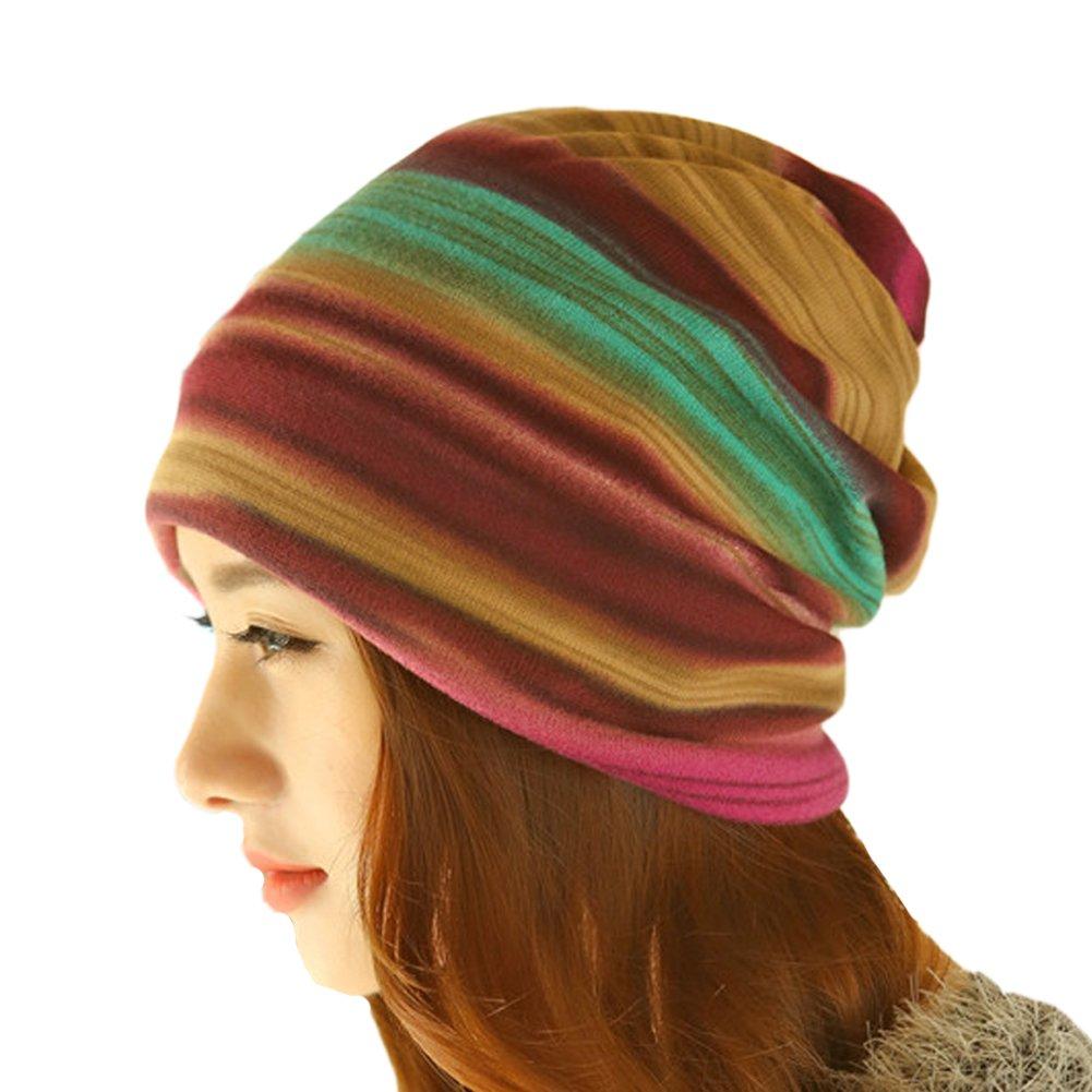 レディース冬フリースRainbow Stripes Convertibleビーニー帽子キャップフードHeadgear  パープル B017LE046M