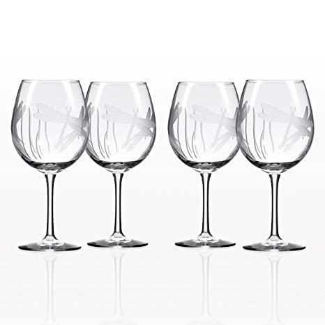 f7c66bd43d0 Rolf Glass Dragonfly Etched Balloon Red Wine Glass (Set of 4)