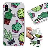 iPhone X Case (5.8-inch) [Clear Transparent], iPhoneX Cover, MerKuyom Slim-fit [Flexible Gel] Crystal Soft TPU Case Skin Cover W/ Stylus For Apple iPhone X (Green Cacti)