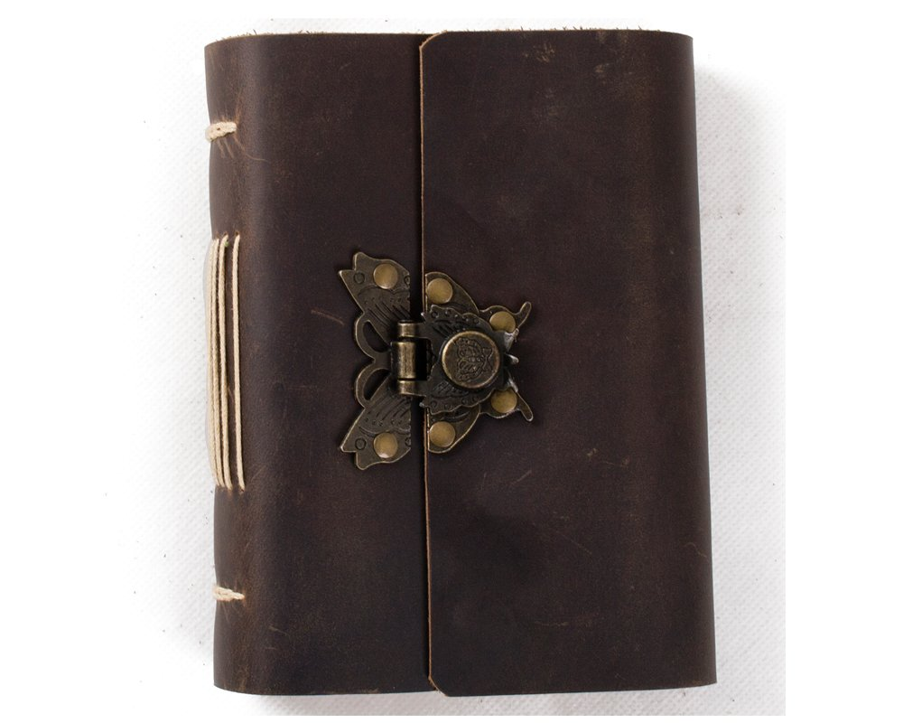 (Dark brown & Lined craft paper) - Ancicraft Genuine Leather Journal Diary with Retro Butterfly Lock Handmade Lined Craft Paper Brown A6 with Gift Box (Dark Brown & Lined Craft Paper) B014GMQ24A Dark brown & Lined craft paper