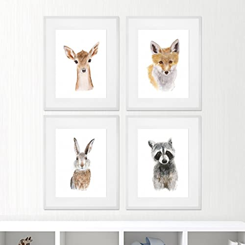 Amazon.com: Woodland Animals - Framed Nursery Art - Set of 4 - Baby ...