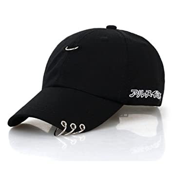 bd4dbe8488194 CATOP Cotton Baseball Cap Adjustable Dad Hat Silver Ring Piercing K-Pop Hip  Hop Hat Unisex Snapback Embroidery Casual Hats Black