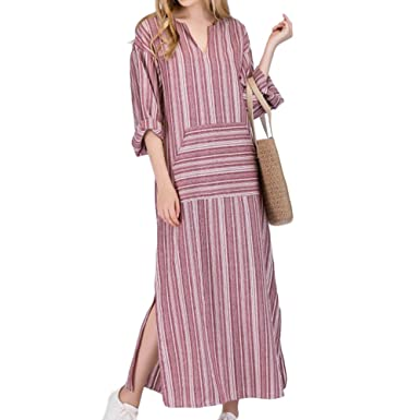 8ca1008a3 iBaste Casual Talla Grande Mujer Vestido Largo Algodón y Lino Moda Largo  Kaftan a Rayas Manga Larga Vestidos