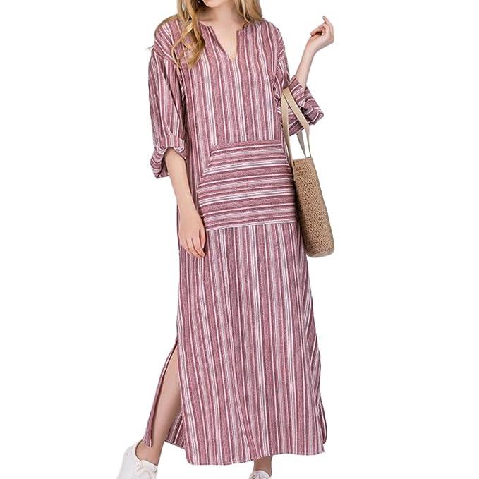 Vestido largo algodon manga larga