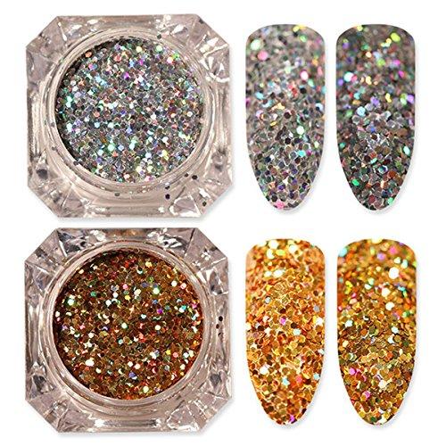 2 Box/Set Laser Nail Sequins Holographic Gold Silver Glitter Paillette Irregular Nail Art Flakes Powder Manicure Nail Decoration Flakies 1