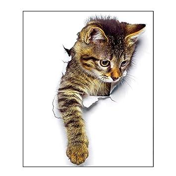 Vinilo Pegatina 3D Decoracion Para Pared, Etiqueta Pvc Impermeable Adhesivo Decorativo Hogar Perros y Gatos Para Coche Ventana Inodoro Sala Dormitorio (C): ...