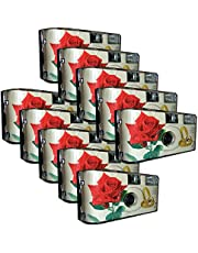 "10 x Photo Porst trouwcamera / wegwerpcamera ""rode roos + ringen"" (Duitse handleiding, met flitslicht en batterijen, elk 27 foto's, ISO 400 Fuji)"