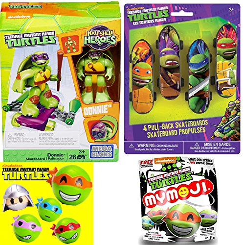 Teenage Mutant Ninja Turtles Mystery Bag Funko Mymoji Action Vinyls + Half-Shell Heroes Donnie with Skateboard Pull-Back Racers 4 Pack - Leonardo / Raphael / Michelangelo / Donatello - Raphael fun - Machine Flying Warcraft