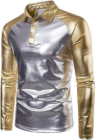 Camisa de hombre Color de contraste de los hombres Metálico Brillante POLO Tops Camisa con respaldo