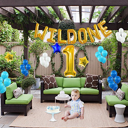 Amazon WILD ONE BIRTHDAY DECORATION KIT Blue And White Balloons Set Perfect For 1st Bday Party Supplies Girl Or Boy With One FREE Number 1 Cake Topper