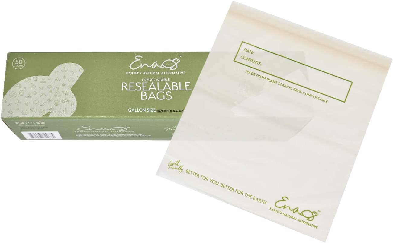 Earth's Natural Alternative Compostable Resealable Gallon Bags, 50 Counts, Off White
