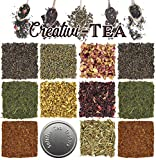 Loose Leaf Tea Sampler Gift Set Assortment — Create Your Own Tea Blend Starter Kit w/Sencha, Rooibos, China Black, Ginger, Lavender, Rose, Lemongrass, Hibiscus Spices Approx 75+ Cups