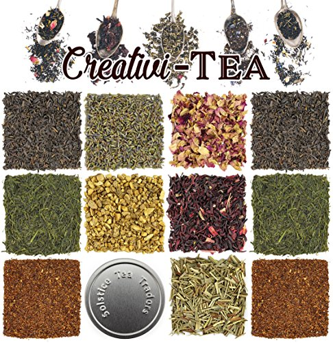 Gourmet Loose Leaf - Loose Leaf Tea Sampler Gift Set Assortment - Create Your Own Tea Blend Starter Kit w/Sencha, Rooibos, China Black, Ginger, Lavender, Rose, Lemongrass, Hibiscus Spices Approx 75+ Cups