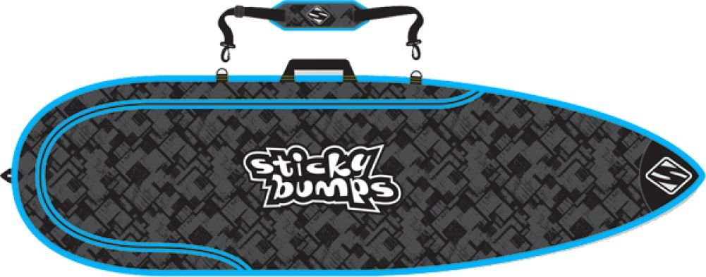 Sb Single Day Bag 6'6 Thruster Black Blue Reflective Boardbags Sticky Bumps