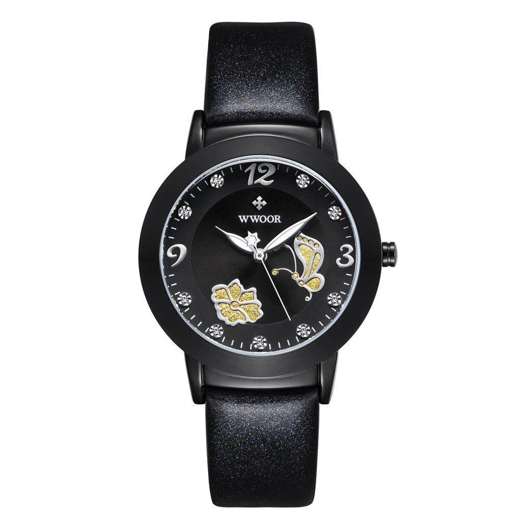 wwoor moda y elegante de las mujeres Casual analógica reloj de pulsera decorado con flores, mariposas y números romanos con correa de cuero resistente ...