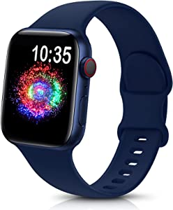 TreasureMax Sport Band Compatible with Apple Watch Bands 38mm 40mm 42mm 44mm, Soft Silicone Replacement Strap Compatible for Apple Watch Series 6 5 4 3 2 1 SE Men Women Navy Blue 38MM/40MM