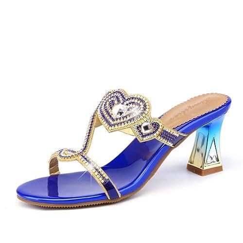 DYTTO Zapatillas De Mujer Diamante Bling 3D Diamante De Imitación Cisne Amor Cristal Gradiente Cuadrado Alto Tacón Brillante Piel Genuina Antideslizante ...