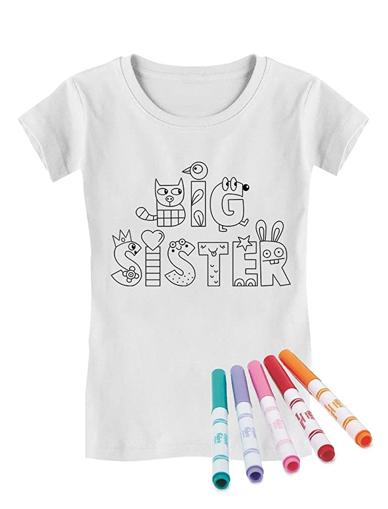 Big Sister Coloring Kit with Fabric Markers Toddler//Kids Girls Fitted T-Shirt