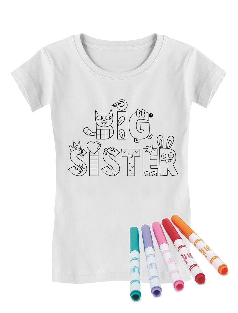 Big Sister Coloring Kit with Fabric Markers Toddler/Kids Girls' Fitted T-Shirt 4T White