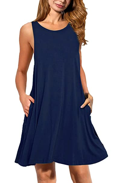 95f478cd602 JOSIFER Womens Cute Casual Summer Aline Dresses Tshirt Dress for Women Knee  Length Sundress Elegant Navy