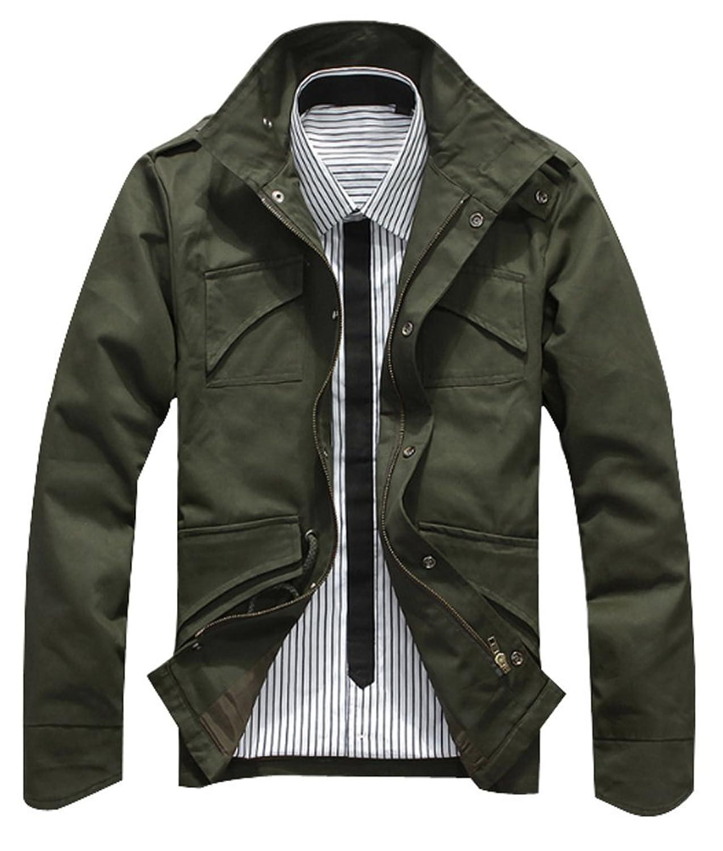 Brinny Herren Slim Fit Military Jacken Knopf Mantel Rider Zip Hoodie Button  Grün S: Amazon.de: Bekleidung
