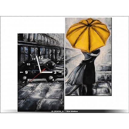 Art-Gallery XXL – 60 x 60 cm – enamorados y paraguas – Reloj de