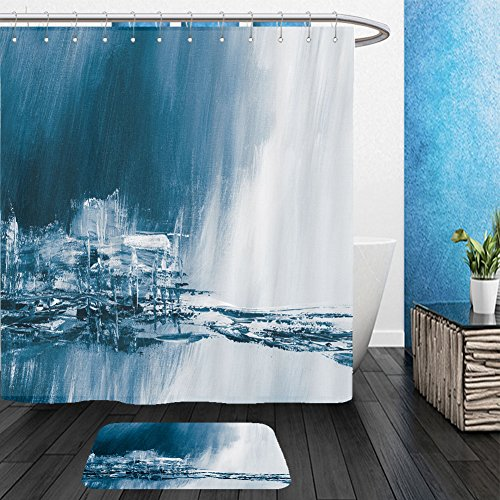 Acrylic Kohler Bathtub Corner (Vanfan Bathroom 2Suits 1 Shower Curtains & 1 Floor Mats blue creative abstract hand painted background wallpaper texture close up fragment of acrylic 431071102 From Bath room)