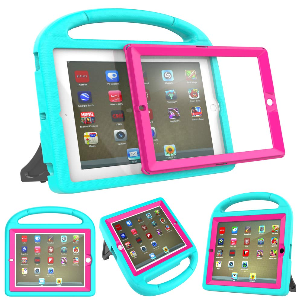 春夏新作モデル iPad 4、iPad 3およびiPad Generation 2のための作り付けのスクリーンプロテクターとのSuromキッズケース、iPad 2のための耐震性の転換ハンドルスタンドケースカバー2nd 3rd 4th 4、iPad B07Q6B5WY7 Generation - ターコイズ+ローズピンク B07Q6B5WY7, イマイチシ:dbb56137 --- a0267596.xsph.ru