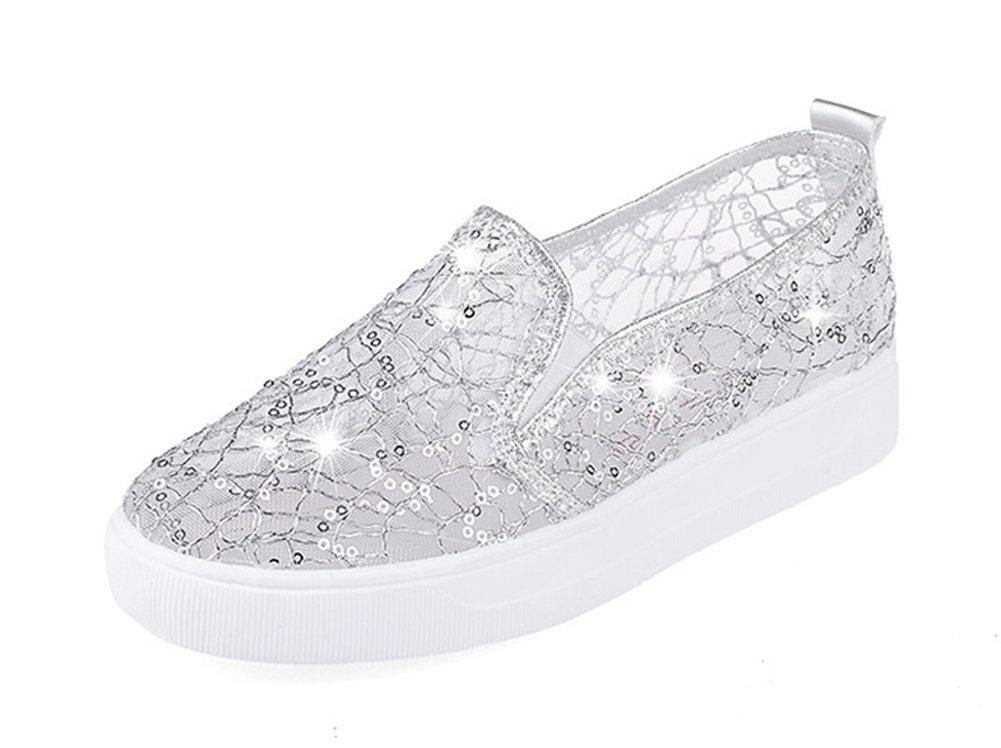 Aisun Women's Trendy Gauze Sequin Round Toe Elastic Slip On Sneakers Platform Loafers Shoes Silver 7.5 B(M) US