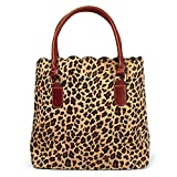 Tote Bag Women Handbag with light brown PU Leather Handle and snap closure (Short Fur)