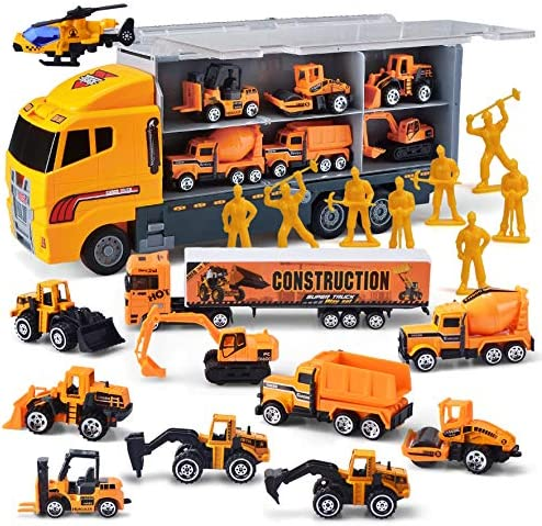 11 in 1 Die-cast Construction Truck Vehicle Car Toy Set Play Vehicles in Carrier Birthday Gifts for Over 3 Years Old Boys