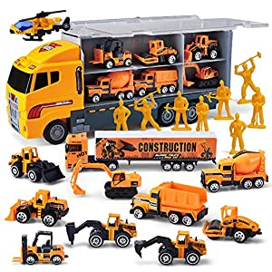 Best Epic Trends 61AHscn3x8L._SS300_ 11 in 1 Die-cast Construction Truck Vehicle Car Toy Set Play Vehicles in Carrier Birthday Gifts for Over 3 Years Old…