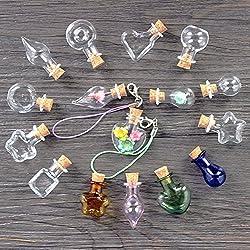 Mixed Shapes Mini Glass Bottles 10Pcs Cork Wood Hanging Rope Small Jars Wishing Bottles Bracelets Pendants Gifts Drift Bottles