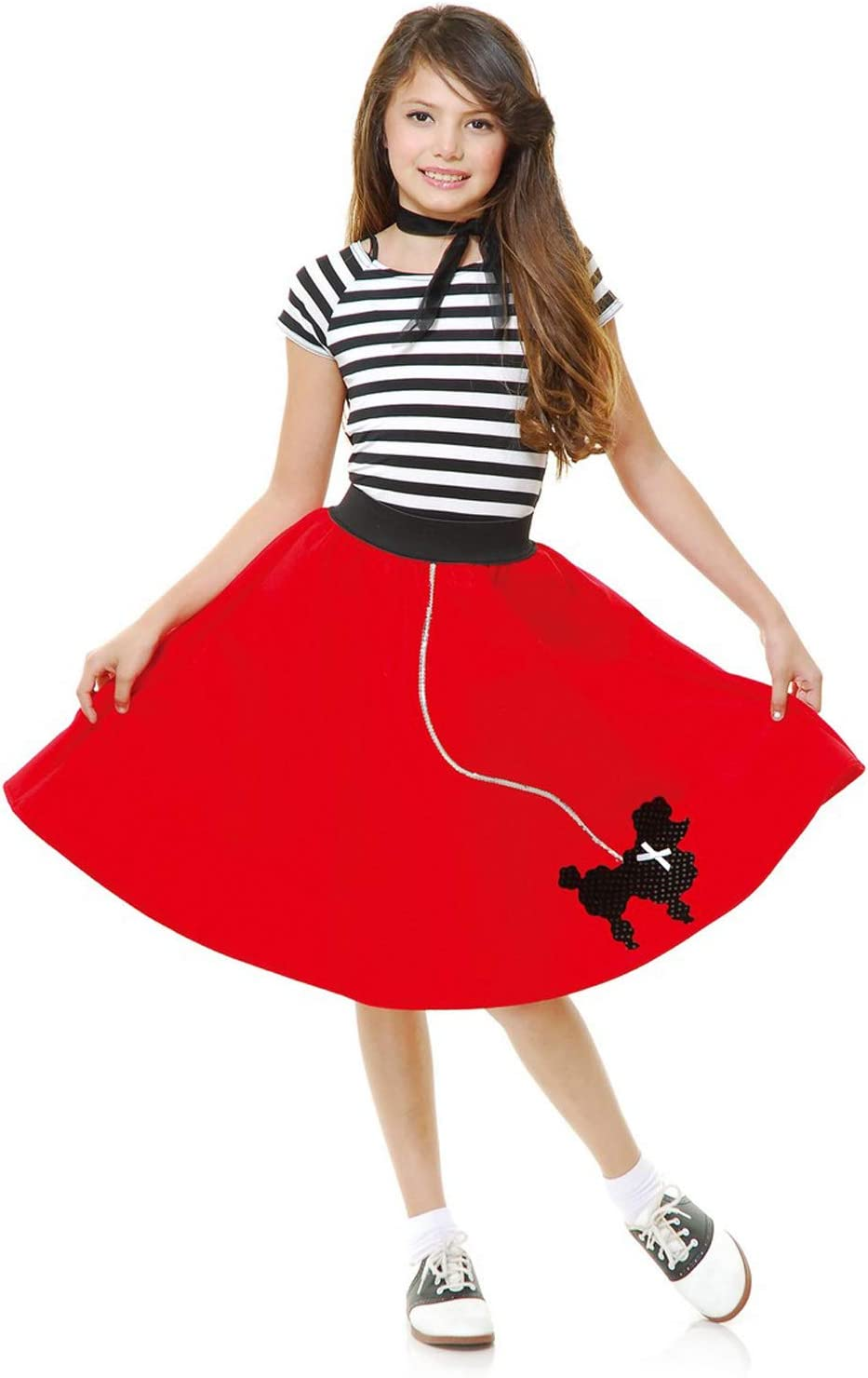 50S ROCK N ROLL RED SKIRT /& SCARF Age 5-8 girls childs kids fancy dress costume