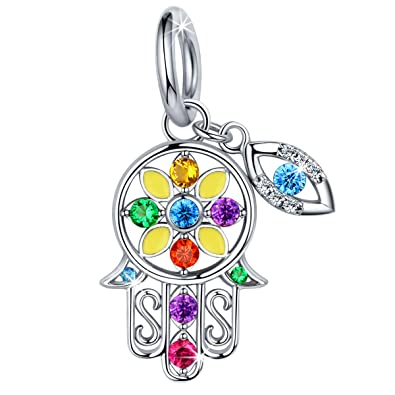 Fit Personalized European Beads Bracelet Silver 925 Original Hamsa Hand Pendant Charms Antique Beads Jewelry Making Women Gifts Beads