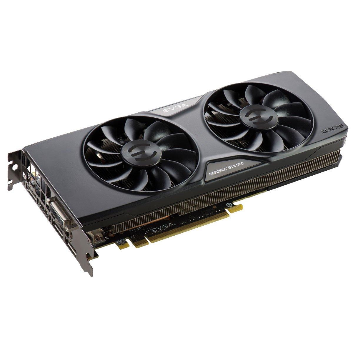 EVGA 02G-P4-2956-KR GeForce GTX 950 2GB GDDR5 - Tarjeta gráfica (GeForce GTX 950, 2 GB, GDDR5, 128 bit, 4096 x 2160 Pixeles, PCI Express x16 3.0)