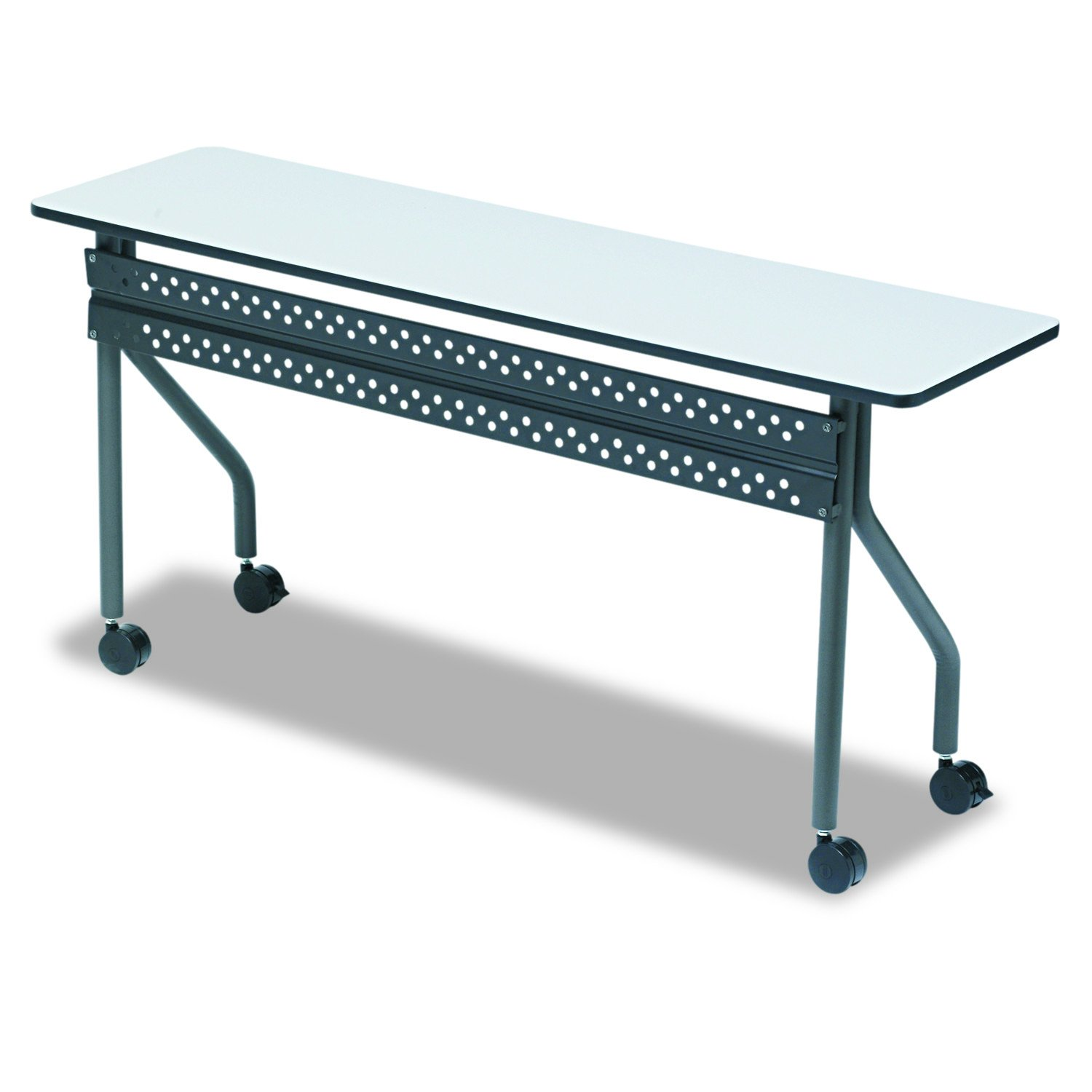 Iceberg ICE68057 OfficeWorks Mobile Training Table with Charcoal Legs, Melamine Laminate, 60'' Length x 18'' Width x 29'' Height, Gray